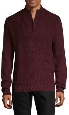 Ben Sherman Textured Half-Zip Cotton Sweater