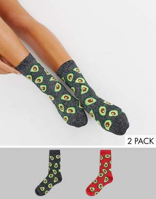 Monki 2-pack glitter avocado socks in black and red