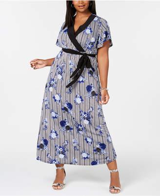NY Collection Plus & Petite Plus Size Surplice Printed Maxi Dress