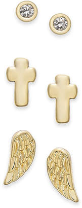 Kitsch Gold-Tone 3-Pc. Set Faith-Inspired Stud Earrings