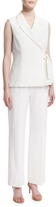 Albert Nipon Sleeveless Tie-Waist Pant Suit $112 thestylecure.com