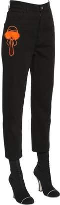 Fendi Karlito Embroidered Jeans W/ Fur