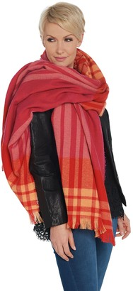 Isaac Mizrahi Live! Color-Block Plaid Blanket Scarf