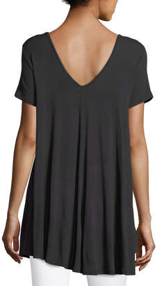 Joan Vass Short-Sleeve Double-V Jersey Swing Top