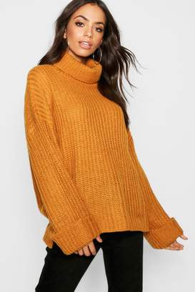 boohoo Rib Knit Wide Cuff Roll Neck Jumper