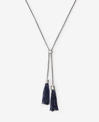 Ann Taylor Double Pearlized Tassel Pendant Necklace