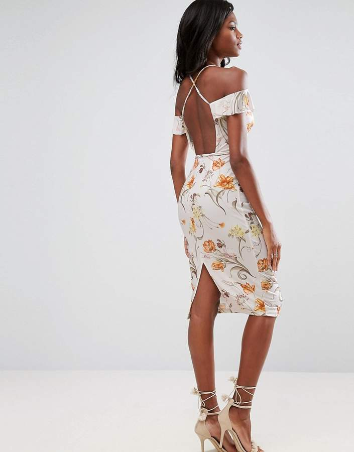 Asos ASOS Cold Shoulder Soft Floral Midi Dress