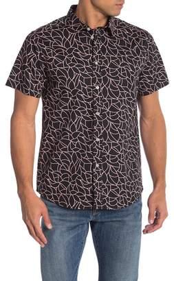 Wellington Short Sleeve Geo Leaf-Print Button Shirt