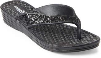 Capelli New York Glitter Wedge Flip Flops