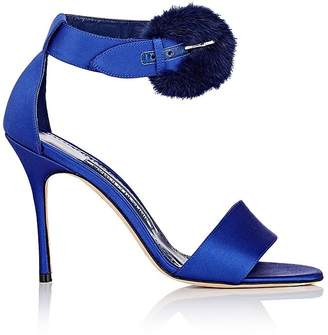Manolo Blahnik Women's Trespola Satin & Fur Sandals