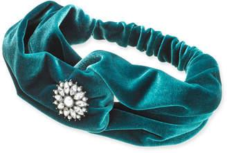 INC International Concepts I.n.c. Silver-Tone Crystal & Imitation Pearl Flower Velvet Turban Headband, Created for Macy's