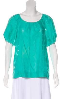 Tibi Embellished Short Sleeved Blouse