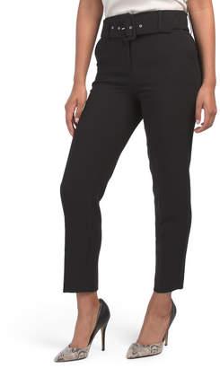 Contemporary Waist Peg Leg Pants With Belt
