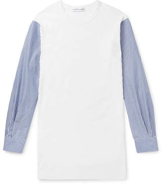 Comme des Garcons Slim-Fit Panelled Cotton-Jersey And Striped Poplin T-Shirt