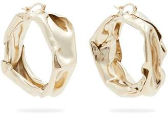 Jil Sander - Hammered Gold Tone Hoop Earrings - Womens - Gold