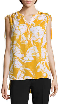 WORTHINGTON Worthington Sleeveless Split Crew Neck Georgette Blouse