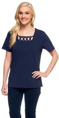 Denim & Co. Perfect Jersey Short Sleeve T-Shirt w/ Lattice Neck