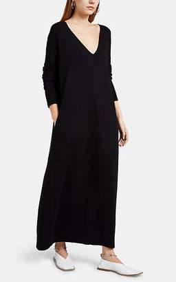 Jil Sander Women's Wool-Cashmere Oversized V-Neck Midi-Dress - Black