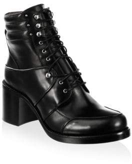 Tabitha Simmons Leo Leather Block Heel Combat Boots