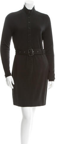 Burberry  Burberry Belted Wool Dress