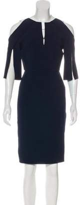 Roland Mouret Pleated Knee-Length Dress Navy Pleated Knee-Length Dress