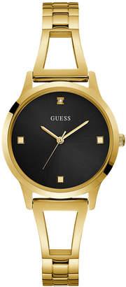 GUESS Women Gold Black Diamond Self-adjustable G-Link Watch 25MM