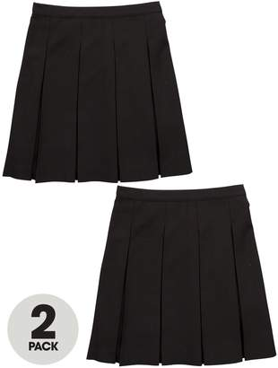 Very Girls 2 Pack Classic Pleated Woven School Skirts PLUS FIT
