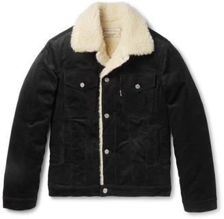 Slim-Fit Faux Shearling-Trimmed Cotton-Corduroy Jacket $425 thestylecure.com