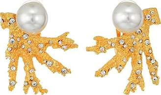 Kenneth Jay Lane Women's Satin Gold Branch w/ Crystal Dots and White Pearl Top Clip Earrings