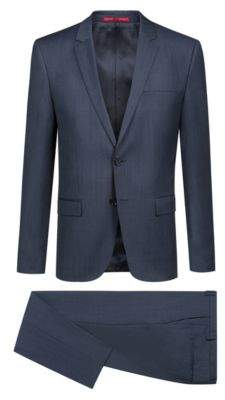 HUGO Boss Extra-slim-fit virgin-wool suit woven pattern 38R Dark Blue