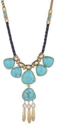 Lucky Brand Turquoise & 6mm Pearl Frontal Necklace