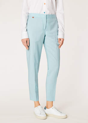 Paul Smith Women's Classic-Fit Turquoise Wool-Mohair Pants
