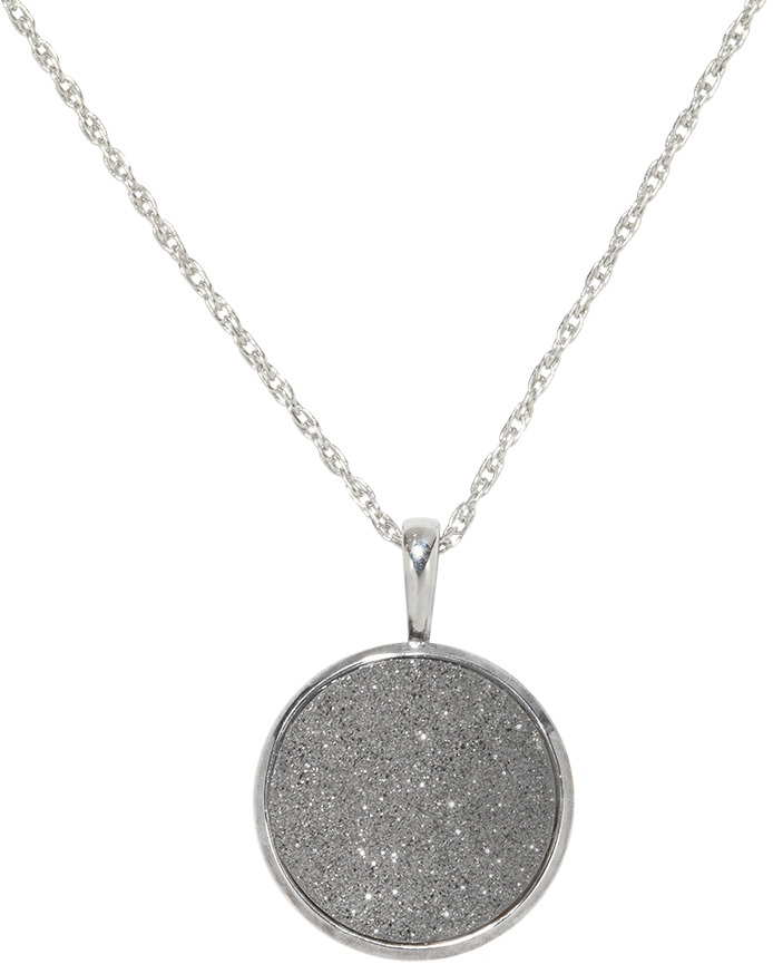 Ice.com Platinum Grey Drusy Sterling Silver Pendant w/ Chain
