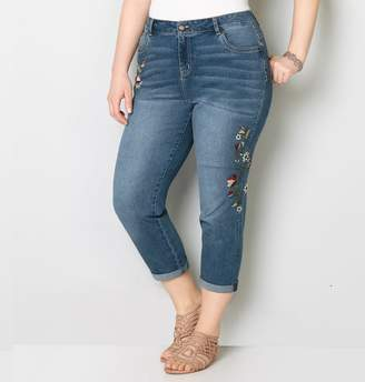 Avenue Side Floral Embroidered Crop Jean