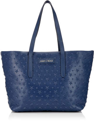 Jimmy Choo SOFIA/M Navy Grainy Leather Tote Bag with Embossed Stars