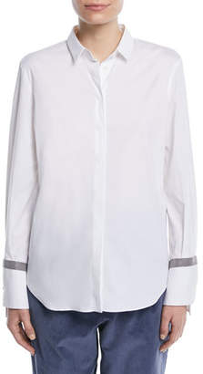 Brunello Cucinelli Button-Down Long-Sleeve Cotton Shirt w/ Monili Band Cuff