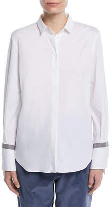 Brunello Cucinelli Button-Down Long-Sleeve Cotton Shirt w/ Monili Band Cuff