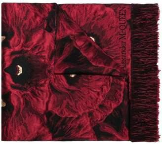 Alexander McQueen red poppy jacquard wool-blend scarf