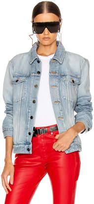 Saint Laurent Boyfriend Denim Jacket in Light Sky Blue   FWRD