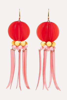 Marni Gold-tone, Resin And Plastic Earrings - Red