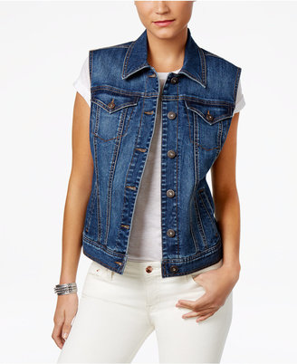 Style & Co Button-Front Denim Vest, Created for Macy's $54.50 thestylecure.com