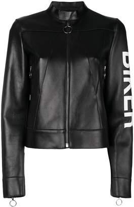 Off-White slogan zipped biker jacket