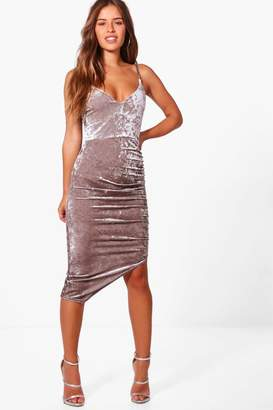 boohoo Petite Jasmine Crushed Velvet Strappy Asymmetric Dress
