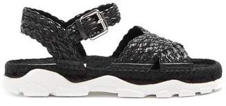 Stella McCartney Woven Rope Espadrille Sandals - Womens - Black