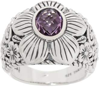 Jai JAI Sterling Silver & Gemstone Carved Floral Ring
