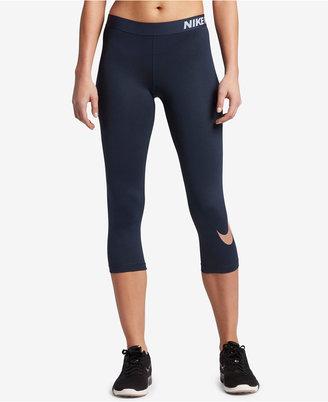 Nike Pro Metallic Logo Dri-FIT Capri Leggings $45 thestylecure.com