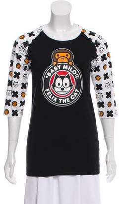 A Bathing Ape Long Sleeve Graphic Print Top