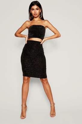 boohoo Shimmer Midi Skirt