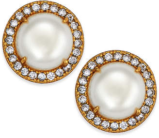 Kate Spade Gold-Tone Pave & Imitation Pearl Button Earrings