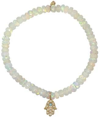 Sydney Evan Turquoise Baby Hamsa Charm on Ethiopian Welo Opal Beaded Bracelet